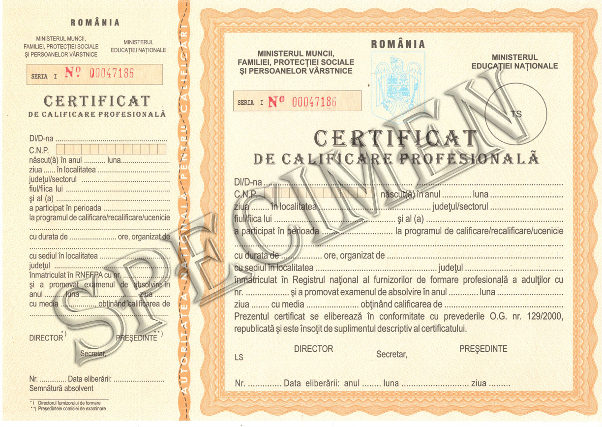 Model Certificat Calificare Profesionala 2
